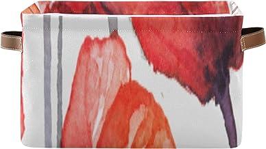 ALALAL Organisation rectangulaire et paniers de Rangement Belles boîtes décoratives de Peinture de Pavot Rouge avec poigné...