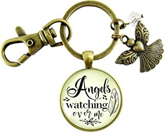 Angels Watching Over Me Keychain Guardian Angel Memorial Pendant Gift Heaven Inspired Jewelry For Women