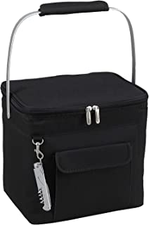 Picnic at Ascot 6 Bottle Insulated Wine Tote- Collapsible Multi Purpose Cooler - Black