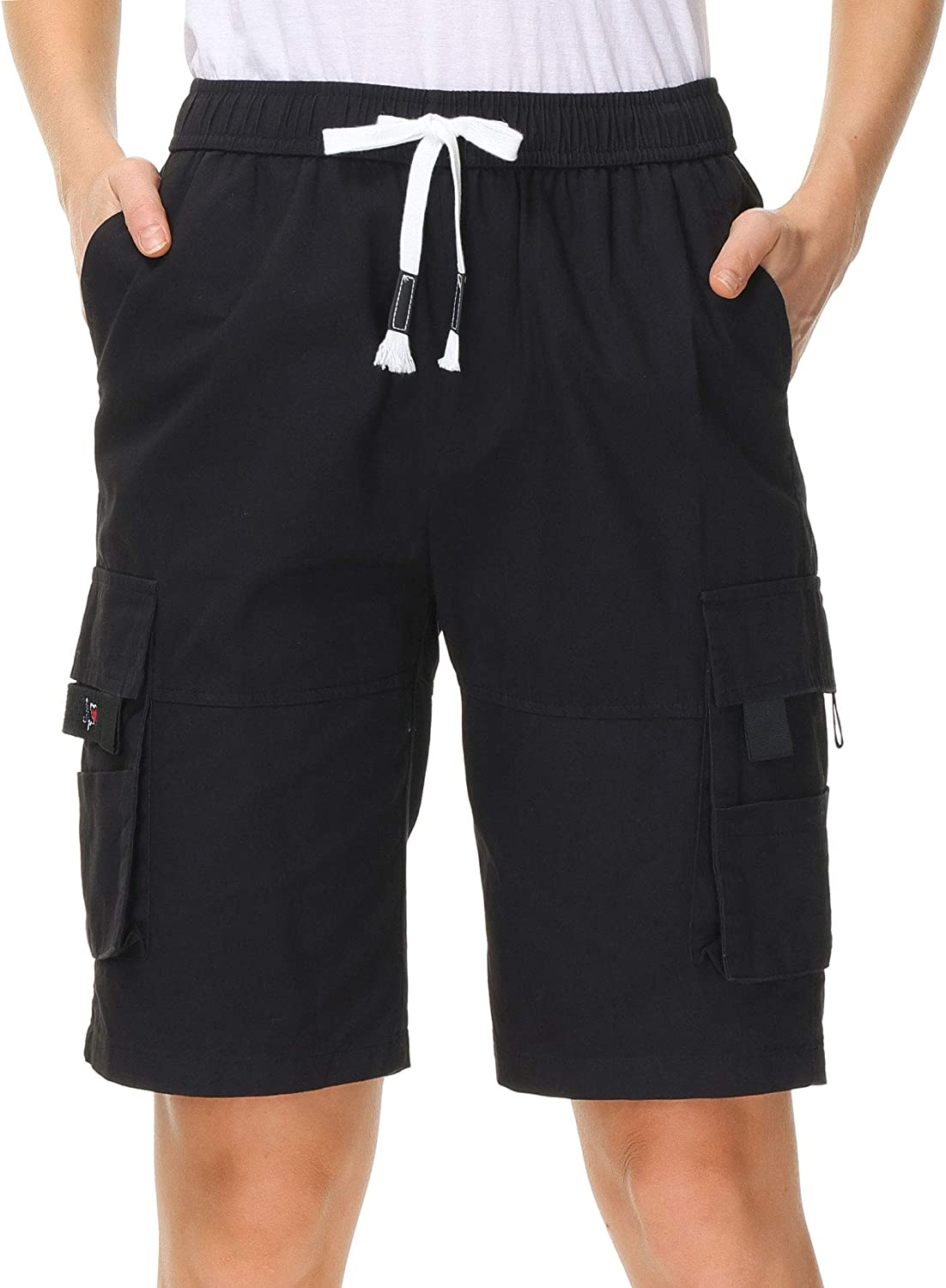 HOW'ON Women's Casual Cash special price Loose Fit Cargo Indianapolis Mall Multi Bermuda Shorts Twill