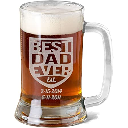 Best Dad Ever Father/'s Day 2020 Glass Beer Mug Mason Jar Custom Pint Beer Father/'s Day New Dad Best Dad Ever