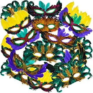 Mardi Gras Masks - (Pack of 50) Bulk Carnival Masquerade Mask Costume Party Supplies, Feather Mardi Gras Decorations for W...