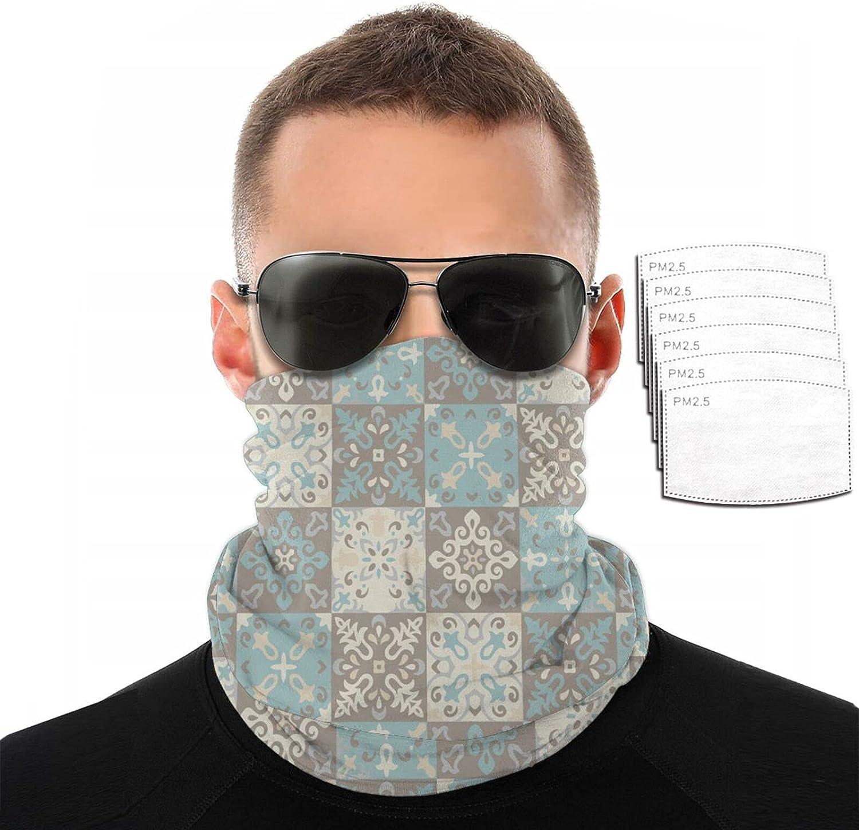 Gesdfwe Balaclava Face Mask Mexican Talavera Tile Print Balaclava Head Scarf with 6 Filter