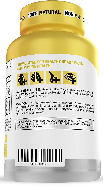 Triglyceride Omega 3 Fish Oil 2500 MG Triple Strength Burpless High EPA & DHA, 120 Soft Gel Capsules No Fishy After Taste - Heart, Joint and Brain Health