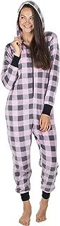 Totally Pink Micro Fleece Buffalo Plaid Adult Onesie Women One Piece Novelty Pajamas