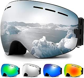 Zerhunt Ski Goggles, Snowboard Goggles Over Glasses, Anti Fog UV Protection Snow Goggles OTG Interchangeable Lens for Men Women Snowmobile, Skiing, Skating