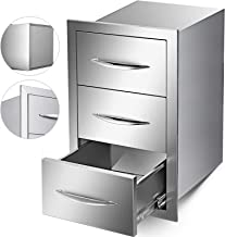 Mophorn Outdoor Kitchen Drawer Stainless Steel 15.7x21.6x17.7 Inch Triple Access BBQ Drawers with Chrome Handle for Outdoor Kitchen