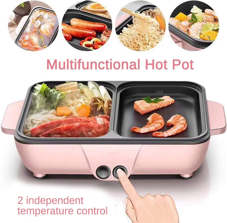 220V 1200W 2 en 1 Mini-cuisinière électrique Machine multifonction Hotpot Nouilles Soupe aux oeufs Barbecue Poêle chauffante BBQ anti-adhésive,Noir Blue