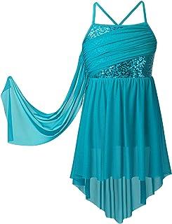 iiniim Robe de Danse Latine Tango Charleston /à Franges Enfant Fille 1920s Vintage Robe /à Bretelle Soir/ée Bal Paillettes Robes sans Manches Col V