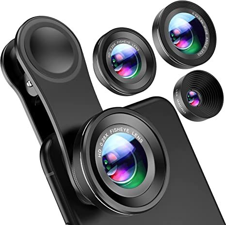 Criacr (Upgraded Version) Phone Camera Lens, 0.4X Wide Angle Lens, 180°Fisheye Lens and 10X Macro Lens (Screwed Together), Clip on Cell Phone Lens Compatible with iPhone, Smartphones