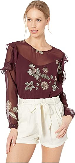 Coming Up Roses Ruffle Top