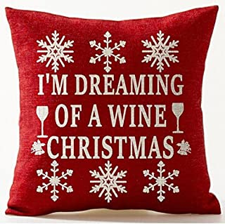 Happy Winter Merry Christmas Snowflake Gifts Cotton Linen Throw Pillow Case Cushion Cover Home Office Living Room Sofa Car...