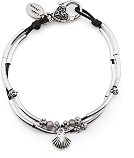 Lucy Anklet in Natural Black Leather Silver Plate Crescents Freshwater Pearls and Silver Shell Charm
