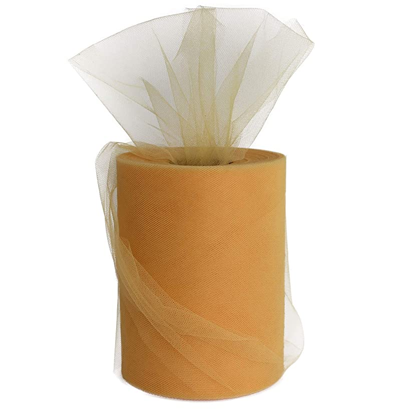 XiangGuanQianYing Old Gold Tulle Roll Spool 6 Inch x 100 Yards for Tulle Decoration