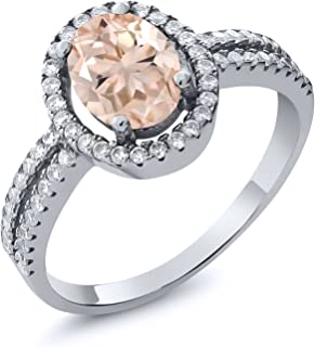 1.76 Ct Oval Peach Morganite 925 Sterling Silver Women's Ring (Available 5,6,7,8,9)