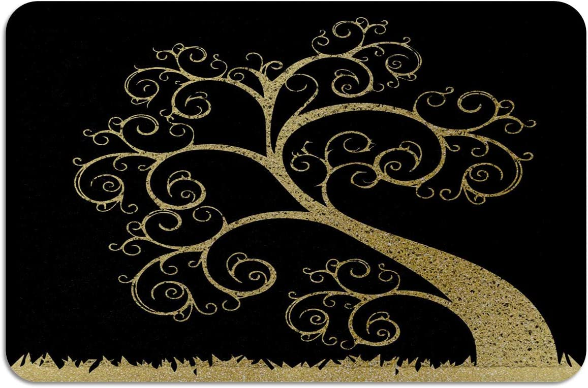 Red Vow PVC Absorb Outdoor Welcome Mats Cheap sale Black Door Dealing full price reduction Trees Golden