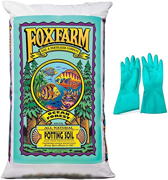 Fox Farm Ocean Forest Potting Soil 1 5 Cu Ft Bundled With Pearsons Protective Gloves