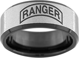 U.S. Army Ranger 10mm Black Tungsten Wedding Ring Available in Sizes 5-15 (Full & Half Sizes)