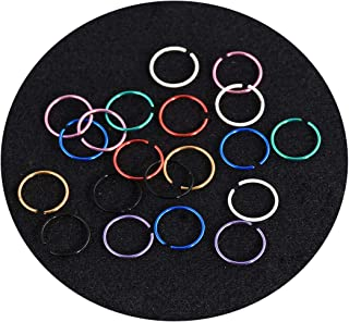 40Pcs Colorful Stainless Steel Body Jewelry Piercing Lip Nose Rings Hoop Studs Clicker Segment