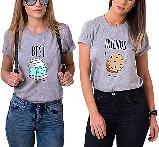 67a2a23c71d Mejores Amigas Camiseta 2 Best Friend T-Shirt Dibujos Animados 100% Algodón  2 Piezas
