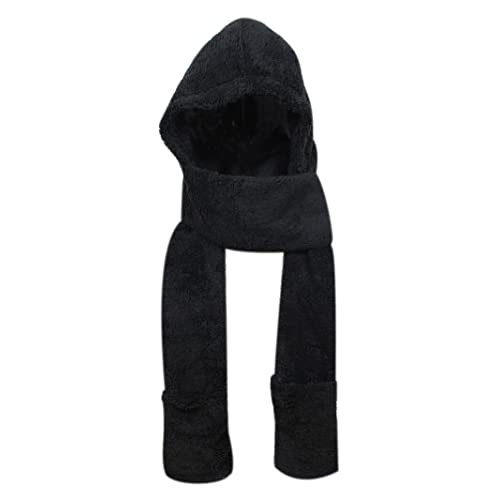 ba279a2ac09cdc Super Soft Fleece Women's Hooded Scarf & Hat W/Glove Pockets By Bioterti