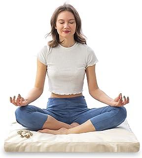 MONK & LLAMA Zabuton Meditation Mat - Soft & Comfortable Meditating Cushion Pillow with 100% Cotton - Upgraded Support and...