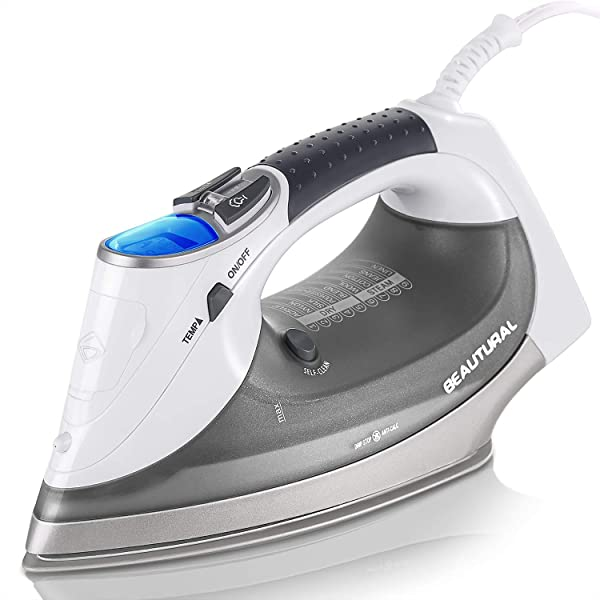 Beautural 1800 Watt Steam Iron With Digital LCD Screen Double Layer And Ceramic Coated Soleplate 3 Way Auto Off 9 Preset Temperature And Steam Settings For Variable Fabric