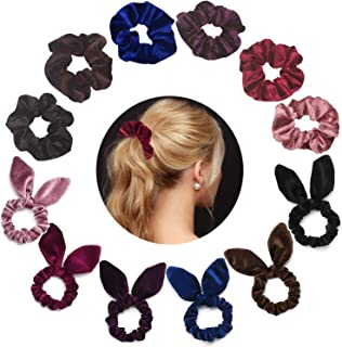 ZBNSLD Velvet Hair Ties Scrunchy Rabbit Ear Bow Bowknot Scrunchie Colorful Satin Hair Accessories Elastic Band Ponytail Ties for Women Girls-2 series 12 pcs (12 pieces)