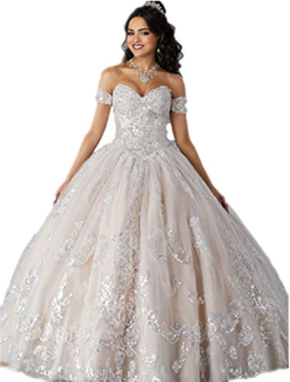 Annadress Women's Lace Quinceanera Dresses Off Shoulder VNeck Ball Gown Quinceanera