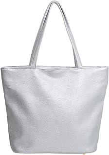 Premium Large Solid Color Vegan PU Pebble Leather Tote Shoulder Bag Handbag