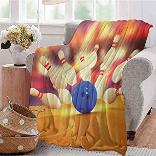Luoiaax Bowling Party Children's Blanket Spread Skittles Blue Ball on a Wooden Floor Moment of Crash Themed Print Lightweight Soft Warm and Comfortable W91 x L60 Inch Multicolor