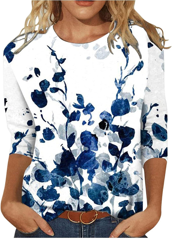 Modaworld Long Sleeve Shirt Women Dressy Crewneck Sweatshirts Fashion Floral Print Blouse Flare Hem Tunic Tops Pullover