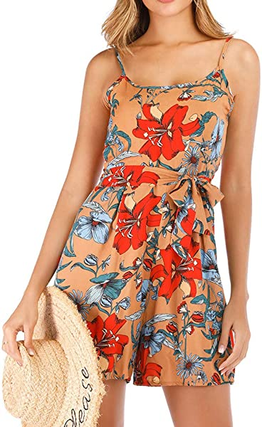 TOTOD Camis Jumpsuits For Women 2019 Foral Print Hanging Bandwidth Truffle Back Bodycon Shorts Rompers