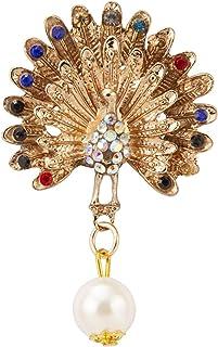 A N KINGPiiN Pavo real bailando con piedras multicolor y perla colgante Pin de solapa, hombres y mujeres