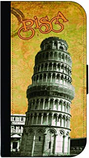 Vintage Leaning Tower of Pisa Design-Tuscany-Central Italy-TM Apple iPhone 5c Universal PU Leather and Suede Wallet Style Phone Case Made in the USA