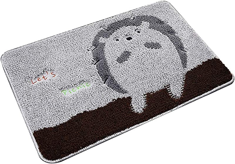 Bath Mat Kids Bath Rugs Bath Mat Rug Non Slip Mat Water Absorption Bathroom Door Mat Foot Pad Bedroom Carpet Household Mat V WEIYV Color Gray Hedgehog Size 3858cm
