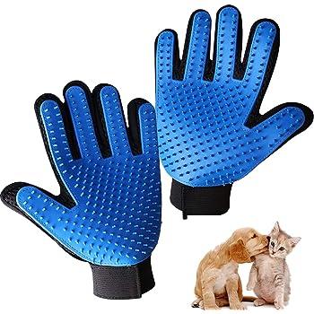 Pet Grooming Glove,Gentle Deshedding Brush Glove Efficient Pet Hair Remover Mitt,Enhanced Five Finger Design,Breathable & Comfortable for Dog,Cat,Horses with Long/Short Fur