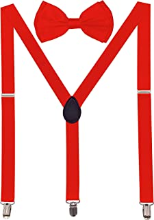 Navisima Adjustable Elastic Y Back Style Suspender With Bowtie Set for Menand Women With Strong Metal Clips