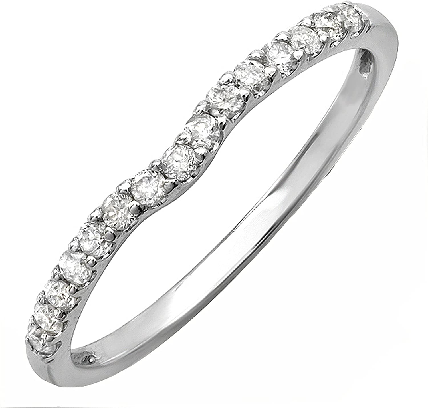 Dazzlingrock Collection 0.25 Carat (ctw) Round White Diamond Anniversary Contour Guard Petite Curve Stackable Matching Band for Her 1/4 CT   Available in 10K/14K/18K Gold
