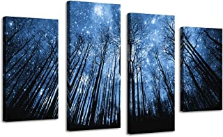 BIL-YOPIN 4 Panels Large Stretched Canvas Prints Star Night Forest Wall Art Pictures Print on Canvas for Living Room …