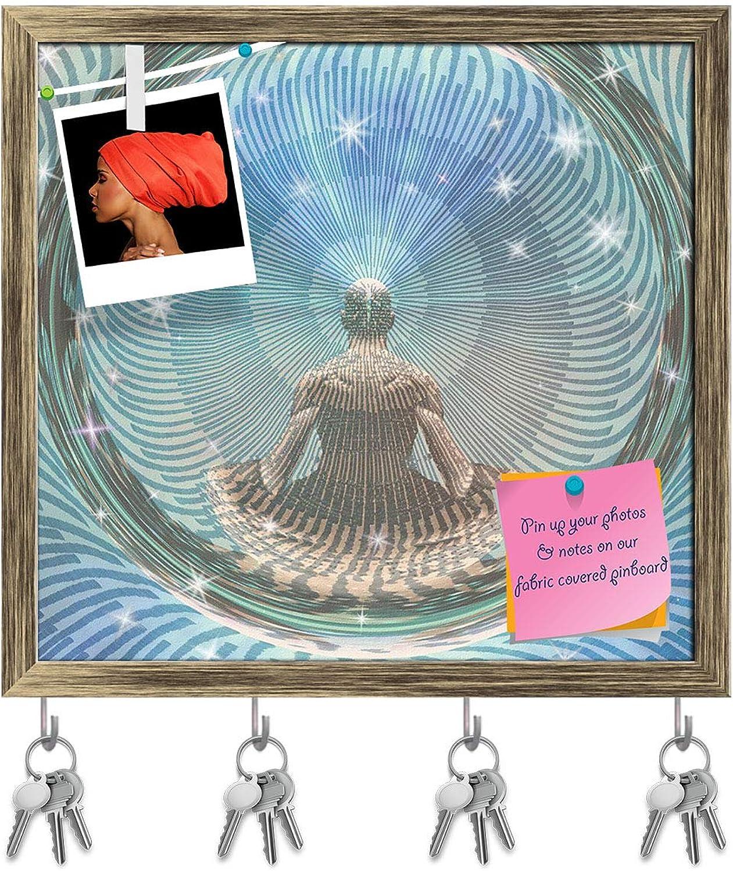 Artzfolio Meditating Man & Energy Key Holder Hooks   Notice Pin Board   Antique golden Frame 16.9 X 16Inch