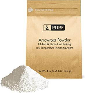 Arrowroot Powder (Flour/Starch) (4 oz) by Pure Organic Ingredients, Gluten Free, Grain Free, Vegan, Paleo, Corn Starch Replacement, Thickener, Eco-Friendly Packaging (Also in 1lb, 2 lb)