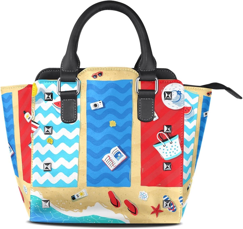 My Little Nest Women's Top Handle Satchel Handbag Summer Beach Mats Seaside Ladies PU Leather Shoulder Bag Crossbody Bag