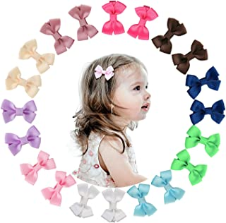 Shemay 10 Pairs 2 inches Tiny Boutique Grosgrain Ribbon Hair Bow Alligator Clips Barrettes for Baby Girls Toddlers Kids