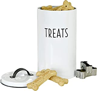 OUTSHINE White Pet Treat Cat and Dog Treat Container with 2 Bone-Shaped Cookie Cutters, Cute Pet Treat Holder Jar with Lid, Durable Dog Biscuit Tin Canister, Great Gift for Pet Owners, White