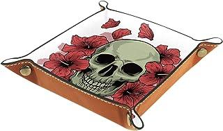 Vockgeng Crâne Fleur Rouge Boîte de Rangement Panier Organisateur de Bureau Plateau décoratif approprié pour Bureau à Domi...