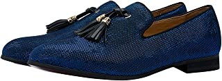 Mocassin Chausson Hommes Slip on Loafers Gland Glitter Chaussures Noir Bleu Or Rouge
