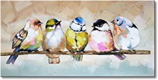 Handmade Bird Family Oil Painting Animal Canvas Wall Art Modern Decor Artwork