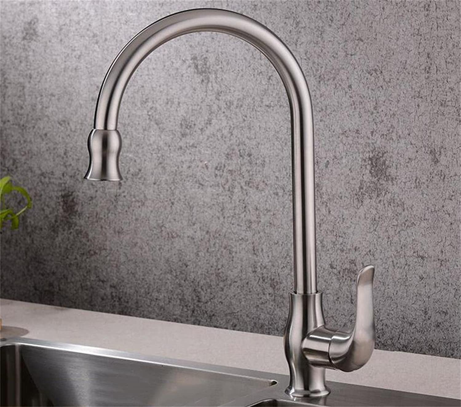 TOYM- 304 Stainless Steel Kitchen Faucet Hot And Cold Water Single Hole redary Kitchen Faucet
