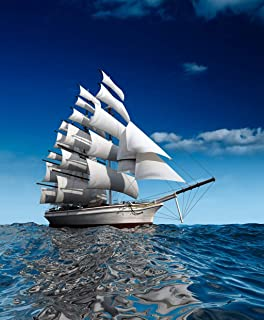 Eaiizer Poster Wall Art Print Sailing Ship in The Vast Ocean Small Waves is 18x24 Inches Artwork for Home Bedroom Decor